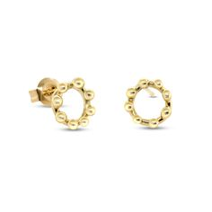 These simple circular stud earrings are made in 14k yellow gold. The circle detail features raised dots giving these earrings a lovely texture. These are the perfect everyday stud earrings.