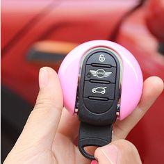 Pink Mini Cooper F55 F56 F54 Car Key Hardtop Case Car Key Cap Cover Key Fob - Carsoda