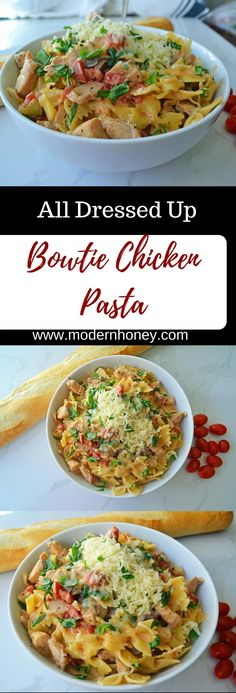 This All Dressed Up Bowtie Chicken Pasta is bursting with flavor. It starts with sauteing chicken in olive oil with onions, garlic, and mushrooms. Then add fire roasted tomatoes, marinated artichokes, (Mix Veggies Cream Cheeses) Chicken Pasta Recipes, Healthy Pasta Recipes, Healthy Food, Tortellini, Orzo, Fire Roasted Tomatoes, Couscous, No Cook Meals, Pasta Dishes
