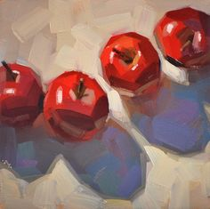 Carol Marine oils, a wonderfully light impressionistic style, with bright light and warm shadows, in other works negative space (the light between the branches of a tree...) has a life of its own. Her use of red and themes of shoes, cherries and teacups inspire me