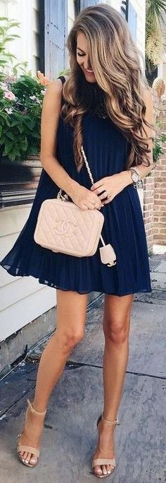Navy swing dress.