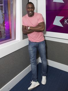 Idris-Elba-wearing-Superdry-refined-tshirt-tee-pink-marl-Idris-light-denim-jeans-and-Stan-Smith-sneakers-shoes