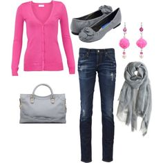 A fashion look from February 2012 featuring Vero Moda cardigans, AG Adriano Goldschmied jeans and Balenciaga handbags. Browse and shop related looks.