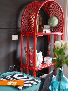 Before & After: Cane Shelving Unit Gets a Bold, Bright Update . PERFECT for my living room. Wicker Dresser, Wicker Headboard, Wicker Shelf, Wicker Bedroom, Wicker Tray, Wicker Table, Wicker Sofa, Wicker Baskets, Wicker Purse