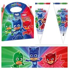 PJ Masks Party Food Boxes With Matching Sweet Cone Loot Favour Bags /& Tie