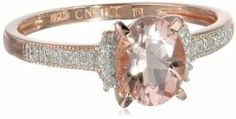 Amazon.com: Rose Gold Plated Sterling Silver Morganite and Diamond Ring (0.14 Cttw, G-H Color, I2-I3 Clarity): Jewelry