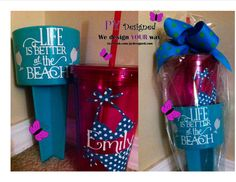 Personalized beach sand spike drink holder &  tumbler set