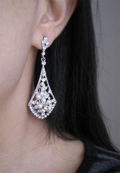 Vintage Style Bridal Earrings,  Ivory Pearl Wedding Earrings, Pearls and Crystals Rhinestone Silver Dangle Earrings, Bridal Jewelry. $55.00, via Etsy.