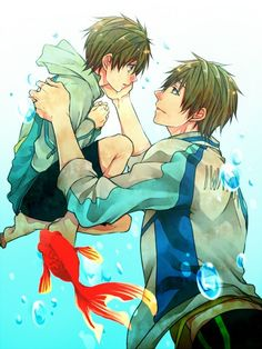 Free! ~~ Older and younger versions :: Makoto... There's a Goldfish... A GOLDFISH!!! FEELS!!! THE FEELS!!! D'X