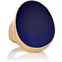 Cobalt blue enamel set in gold-tone ring for a more organic look.