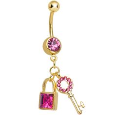 Pink Gem Gold Plated Blingy Lock and Key Dangle Belly Ring | Body Candy Body Jewelry #bodycandy