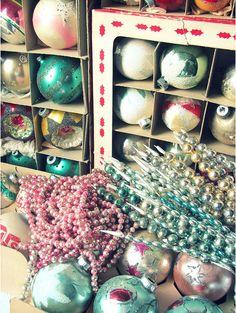 My vintage ornaments.... I love Christmas time!   via Blubird Vintage Blog.