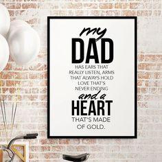 """Hos oss hittar du massor av uppskattade gåvor till pappa på fars dag. T.ex. Vår poster """"Heart made of Gold"""" - kan även beställas med """"Our Dad"""". Pris från 119kr. Välkommen in! #posters #prints #tavlor #ramar #far #pappa #dad #farsdag #farsdagspresent #födelsedagspresent #gåva #heminredning #inredning #väggdekoration #tips #inspiration #inspo #farsdagstips #inred #inreda #presenttips #julklapp #dekoration #inredningsdetaljer"""