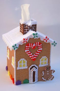everything plastic canvas | Plastic Canvas-Gingerbread House Tissue Topper Plastic-Canvas-Kits.Com