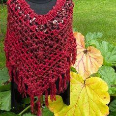 Red poncho for sale #MianVirkkuut #crochetponcho #redyarn #wool #rhubarb #autumnleaf #raparperi #syksynvärit  #villaa