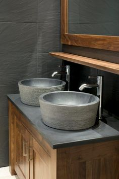 Gorgeous twin stone basins on granite counter in stunning master en-suite bathroom. Stylish and simple with two VADO Origins extended basin mixers.