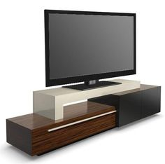 Exotic woods, stainless steel, and 55 inches of flatscreen.....these are a few of my favorite things.... Tv Stand Furniture, Tv Unit Furniture, Furniture Design, Tv Wall Design, Bed Design, Tv Stand Decor, Modern Tv Wall Units, Tv Stand Designs, Rack Tv