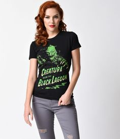 Black & Green Classic Monster Creature Short Sleeve Tee