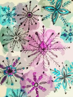 fineliner and water colour snowflakes- A fun future winter art project!