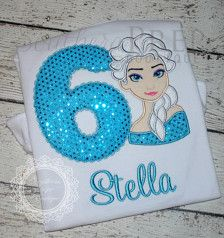 FROZEN Elsa Applique Shirt WITH Birthday Number - Personalized! - Frozen Birthday Party Shirt