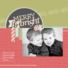 Merry & Bright page using woodcut embellishments.
