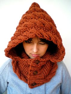 ZOMG I need to find the pattern for this --  Lady Marion Spice Brown Hood Super Soft Wool Hooded Cowl Hand Knit Cabled Hat Hood