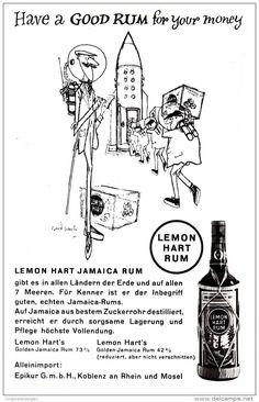 Werbung - Original-Werbung/ Anzeige 1960 er Jahre - LEMON HART RUM - ca. 80 x 130 mm
