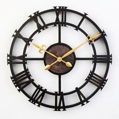 Large Iron Vintage Roman Numeral Silent Wall Clock