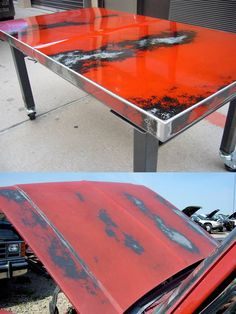 Reclaimed sheetmetal from an old car makes a pretty cool table. LOVE THIS!!!