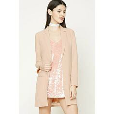 Forever21 Textured Longline Blazer ($35) ❤ liked on Polyvore featuring  outerwear, jackets,