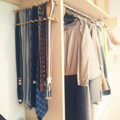 shiokoさんの、ベッド周り,ダイソー,クローゼット,100均,ベルト収納,クローゼット収納,ネクタイ収納,のお部屋写真