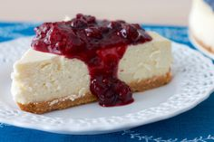 classic cheesecake with rustic mixed berry sauce