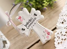 Personalised Cross 1st Communion, Baptism, Christening gift, favor, White Cross with flowers, Godparents gift, salt dough ornament by BRsaltycandy on Etsy