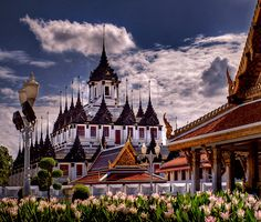 Thirty-seven spires stand tall on the Metal Castle of Bangkok, Thailand.