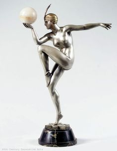 """Stella"" an Art Deco silvered bronze by Maurice Guiraud-Rivière for Etling, Paris circa 1930."