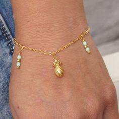 Pineapple charm bracelet, summer charm bracelet girls pineapple bracelet pineapple jewelry pineapple jewellery tropical bracelet gifts for her