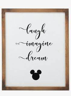 Disney Mickey Mouse Laugh, Imagine, Dream Wood Framed Wall Decor - Angelina Lopez Home Mickey Mouse Laugh, Mickey Mouse Quotes, Mickey Mouse Room, Disney Mickey Mouse, Mickey Mouse Classroom, Mickey Mouse Crafts, Minnie Mouse, Mickey Mouse Halloween, Baby Disney