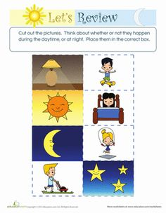 Preschool Sorting & Categorizing Fine Motor Skills Worksheets: Difference Between Day and Night