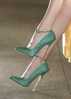Zapatillas de fiesta color verde esmeralda