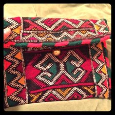 Moroccan kilim purse This beautiful clutch was repurposed from a Moroccan kilim pillow case. The colors are better than the camera captures. Bags Clutches & Wristlets