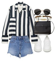 A fashion look from May 2017 featuring navy top, stretchy shorts and Golden Goose. Browse and shop related looks. Cute Casual Outfits, Short Outfits, Stylish Outfits, Summer Outfits, Fashion Outfits, Korean Fashion Trends, Fashion Books, Polyvore Outfits, Aesthetic Clothes