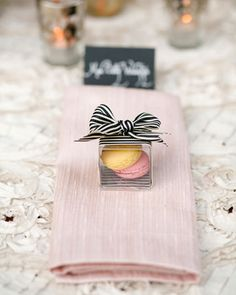 Macarons look even more special tied with a cute striped ribbon