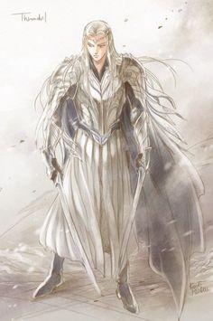 Thranduil by Kazuki Mendou Lotr Elves, Mirkwood Elves, Male Fairy, Anime Elf, Legolas And Thranduil, Elf Art, Forest Elf, O Hobbit, J. R. R. Tolkien