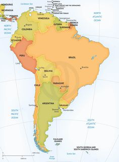 31 Best Maps of South America continent regions countries images