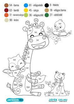 Számszínező - 9-es szorzótábla gyakorlása - LETÖLTHETŐ | Játékod - online és letölthető logikai és fejlesztő játékok School Frame, Special Education, Cool Kids, Activities For Kids, Deer, Diy And Crafts, Classroom, Math, Fun
