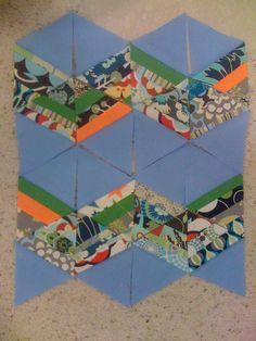scrappy 60 degree triangle tutorial, chevron, hex layout etc.