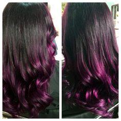 50 Lavish Purple Ombre Hair Ideas — Royal Trend of the Year Dark Purple Hair Color, Purple Hair Highlights, Purple Ombre, Dream Hair, Ombre Hair, Hair Designs, Beauty Secrets, Hair Inspiration, Wigs