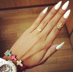 Amazing stiletto nails with white shellac over top! #beautiful