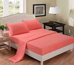 Hot Sale! Honeymoon super soft Wrinkle Free Fade-resistant No Ironing, Twin/Full/Queen 4PC bed sheet set, coral , deep pockets sensitive skin fine workmanship Easy Care Honeymoon http://www.amazon.com/dp/B00KD727G0/ref=cm_sw_r_pi_dp_SW8Hub14R7WPT