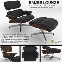 Modeled in 3dsmax, unwrapped and textured with PBR materials in 3dCoat. This model includes the lounge chair and footrest ottoman as separate objects, both fully textured and UV Unwrapped. Bo...